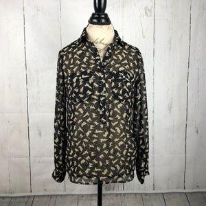 Zara Basic Size M Cat Print Sheer Top